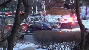 A fire truck responding to the crash was involved in its own crash at Linwood and Paxton.