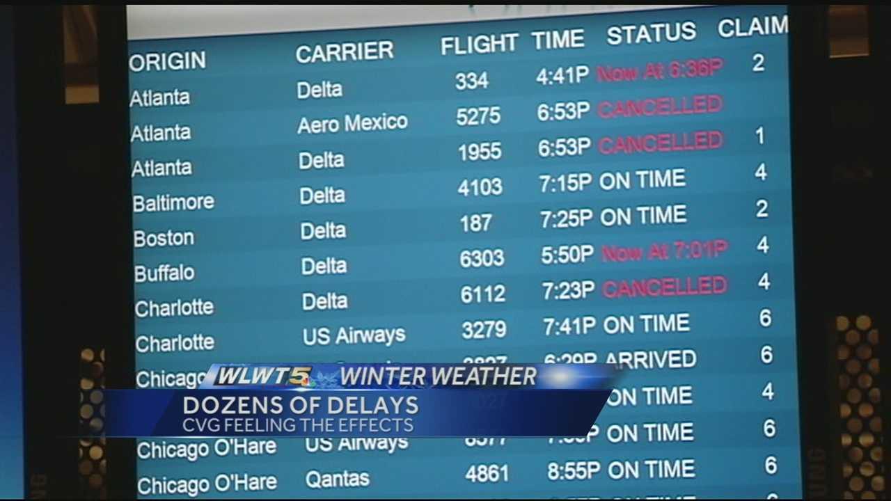 Dozens of closures for inbound, departing flights at CVG Wednesday
