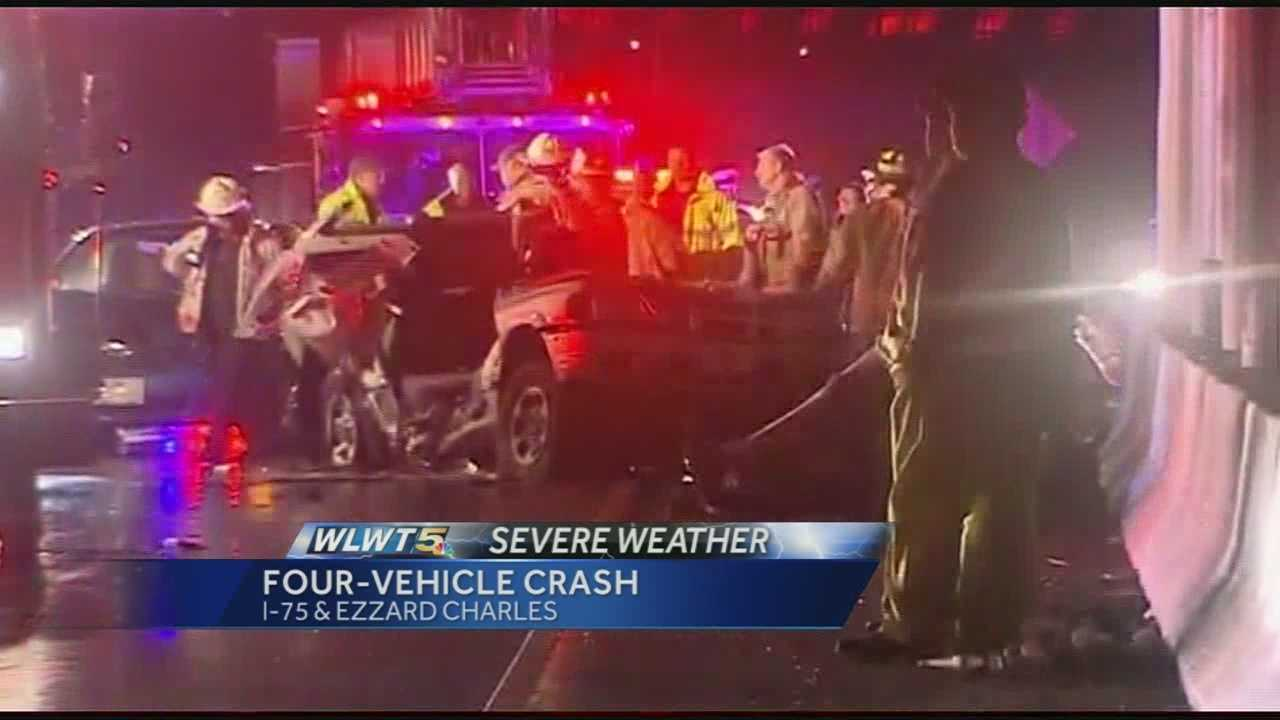 Coroner on scene of 4-car crash on Interstate 75