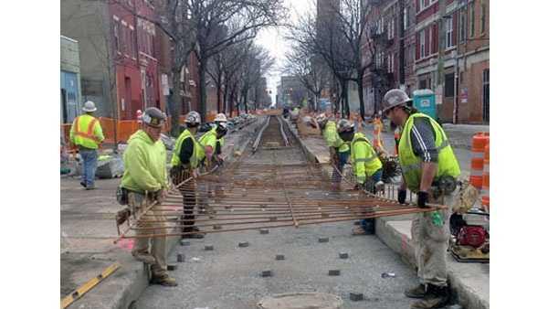 Streetcar tracks being laid