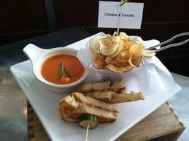 Cheese & Tomato: Brioche, Grafton Cheddar and Candied Bacon with Tomato Soup and House Chips