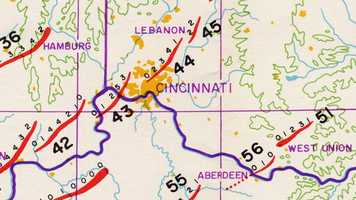The small numbers indicate estimated tornado strength on the Fujita Scale. The paths and strengths were hand-drawn by Dr. Ted Fujita himself.