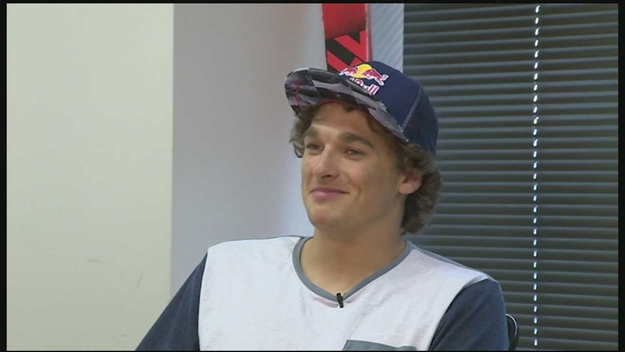 Olympic medalist Nick Goepper stops by WLWT before throwing our first pitch