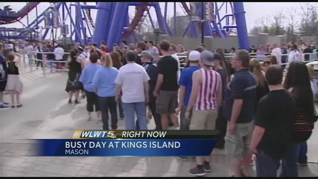"""The reasons behind the long wait are what Kings Island officials are calling the """"theme park trifecta."""" Friday was opening day&#x3B; there was a new attraction at the park and on top of it all the perfect weather. Officials said the wait for the new Banshee roller coaster was just over an two hours."""