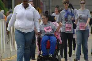The PigAbilities walk was for people with developmental or physical disabilities who want support, instruction and encouragement to successfully walk, run or wheel in a marathon event. Some participants began training for the event in March.