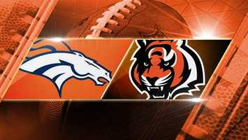 Week 16: Broncos at Bengals: The Denver Broncos head to the Queen City to play the Bengals on Monday, Dec. 22 at 8:30 p.m.