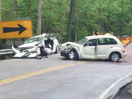 One woman was flown to UC Medical Center after a two-car accident Saturday afternoon in Miami Township. Police said wet roads caused one car to hit the other in the 5300 block of Wolfpen-Pleasant Hill Road. Two other passengers were also taken to the hospital.