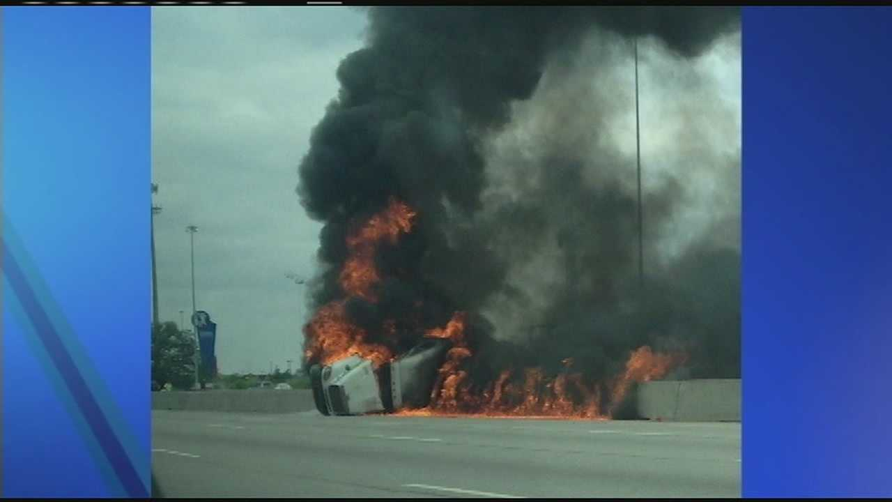 Ohio State Highway Patrol troopers said the driver of a tractor-trailer was driving northbound when he lost control and hit the center median. The truck overturned into the southbound lanes and caught fire.