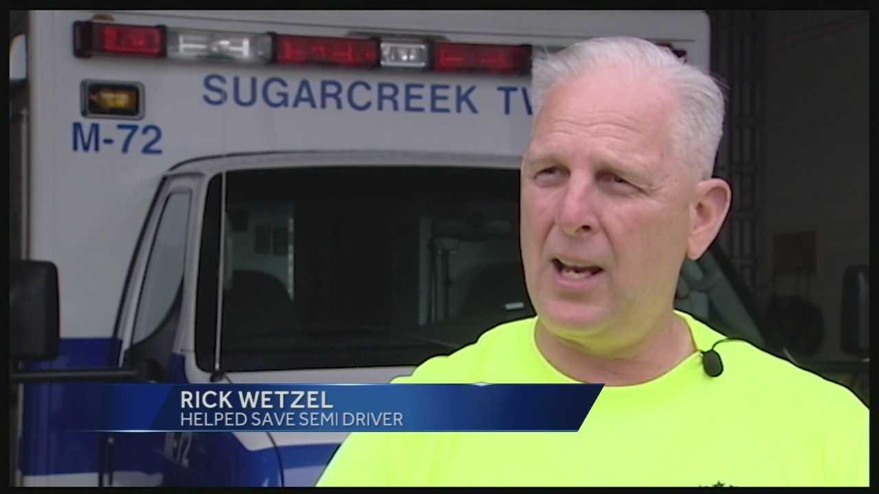 Volunteer firefighter saves semi driver after fiery wreck on I-75