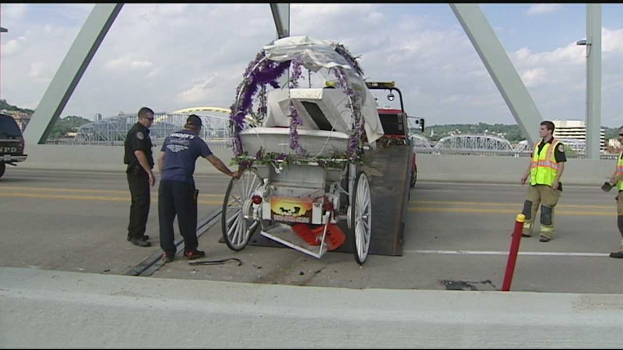 A carriage driver with Elegant Carriage of Cincinnati is recovering Thursday night after her carriage was hit from behind on the Taylor Southgate Bridge during evening rush hour.