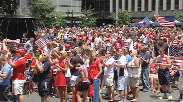 Thousands of soccer fans came together on Fountain Square to watch the US take on Germany in the Soccer World Cup.