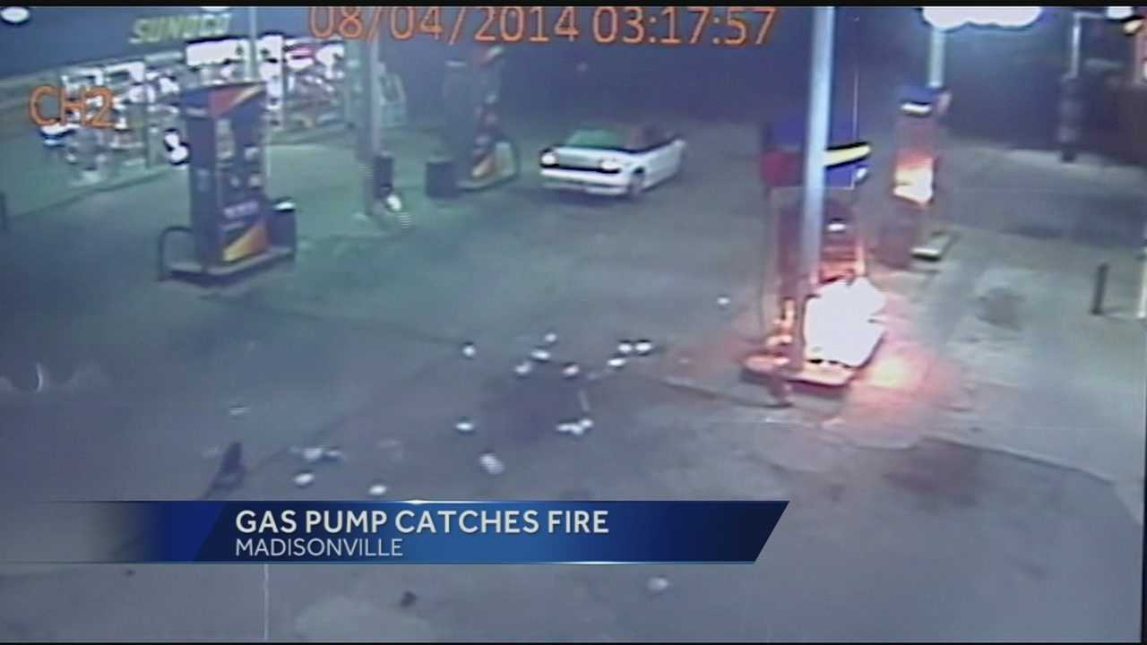Police looking for a driver who ignited a gas pump fire in Madisonville