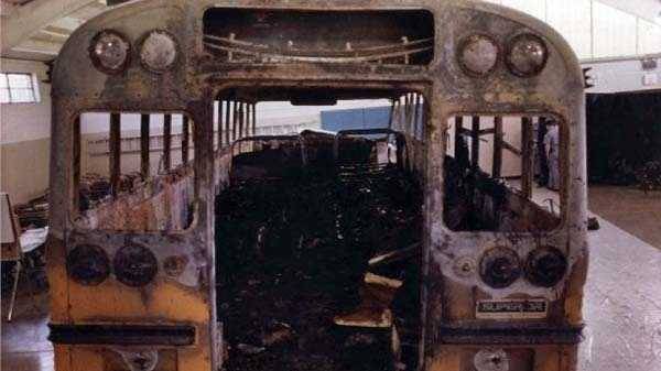 The remains of the bus involved in the 1988 crash.