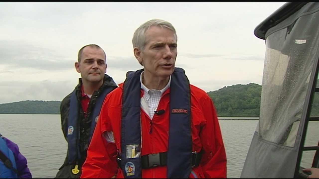 Portman tours state park lake prone to toxic algae