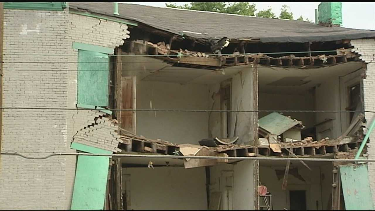 The building was vacant at the time, but shortly before it fell, two men were inside doing some brick work.