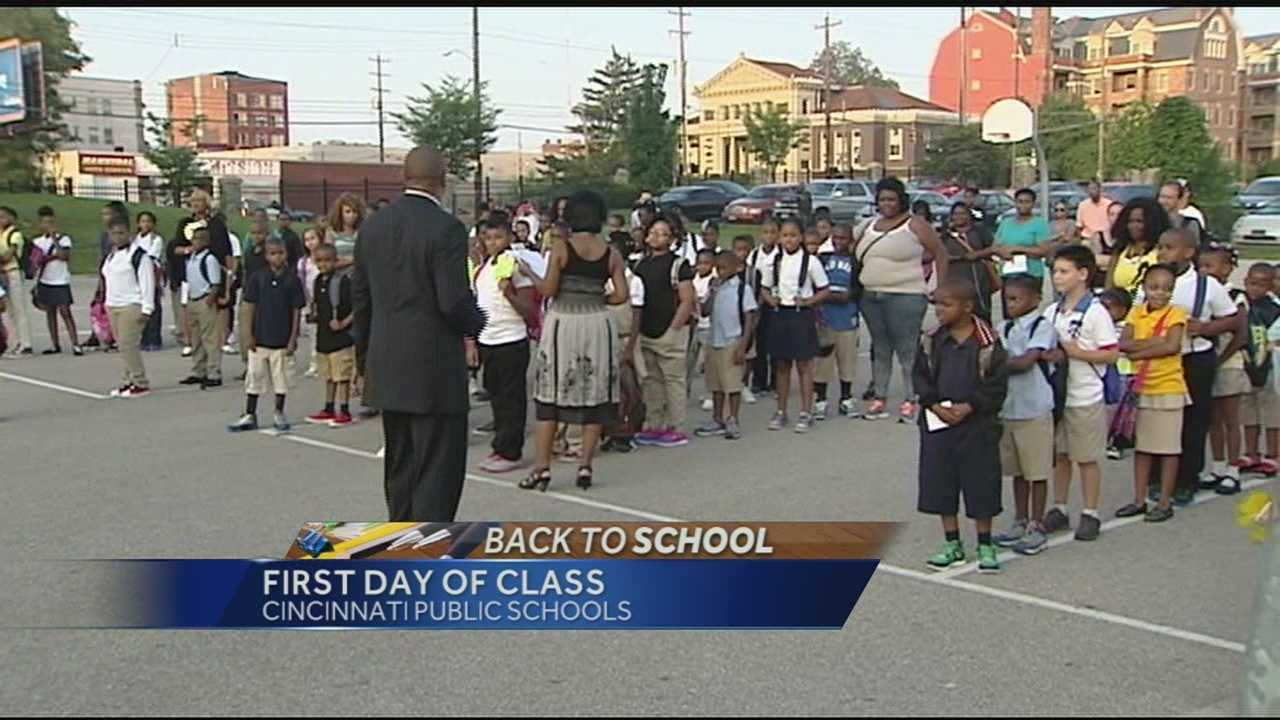 It's day one for Cincinnati Public Schools and Police Chief Jeffrey Blackwell stopped by area schools, including Frederick Douglass Elementary to get the year started.