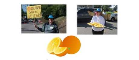 """Runner Feed Stations - """"Orange"""" you lucky that The Flying Pig will provide fresh fruit slices for both the marathon and half marathon participants to enjoy?"""