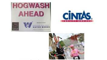 Hogwash Station - Being hot and sweaty at Mile 23 is just a bunch of Hogwash because Cintas and Greater Cincinnati Water Works provide a wash and dry run-thru station.