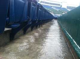 The aisles at Hadlock Field in Portland are nothing but puddles of water.