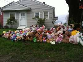 A collection of teddy bears has since been removed from the property at Justin DiPietro's home.