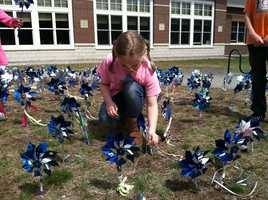 The pinwheels are a symbol to raise awareness about child abuse.