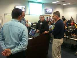 Gov. Paul LePage at MEMA headquarters in Augusta.