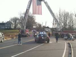 The procession traveled to Skyway Drive in Portland where it met with police vehicles from other agencies.