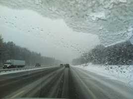 Driving conditions along the Turnpike in Scarborough Wednesday morning.
