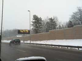 Driving conditions on I-295 in South Portland.