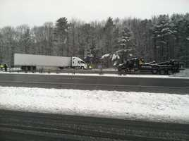 Police said the blockage is between exit 17 and the Royal River.