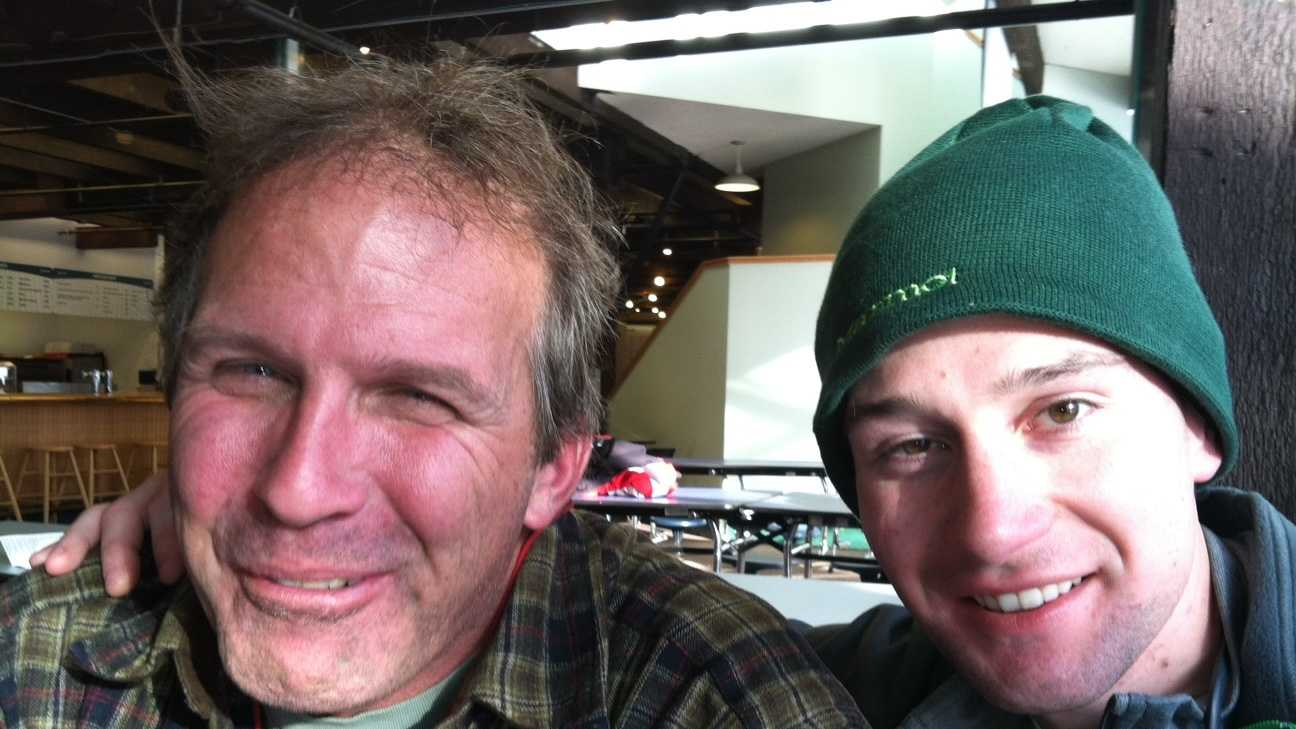 From left to right: Andy Politz and Keith Zeier at Wildcat in Pinkham Notch Tuesday.