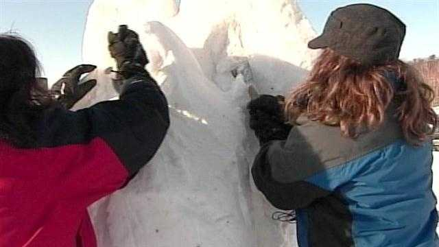 The best of the best in snow sculpture compete in Jackson New Hampshire.News 8's Norm Karkos reports.