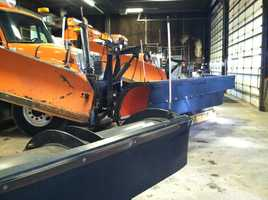 The plows are hitched up and ready to go in Westbrook.