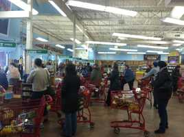Trader Joe's in Portland was packed with people preparing for the storm.