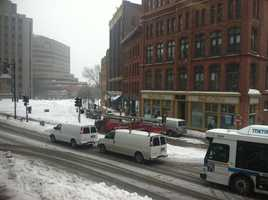 Monument Square in Portland at 11:30 a.m.