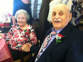 Jack, now 94 and Addie, 91, celebrated their anniversary with family and friends at the Park Danforth in Portland.