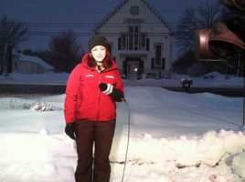 Meteorologist Mallory Brooke in the snow
