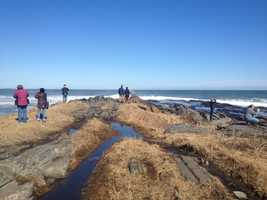 Wave watchers at Two Lights State Park