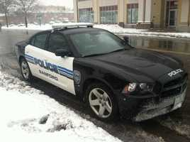 Sanford Police keeping an eye on the roads during the storm.