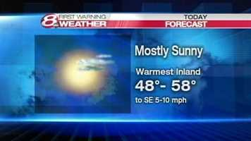 Mostly sunny. Highs 48 to 58. A bit warmer near and over the New Hampshire border. Wind becoming southeasterly 5 to 10 mph.