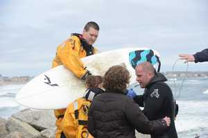 Rescue crews evaluated the surfer at the scene, but did not take him to the hospital.