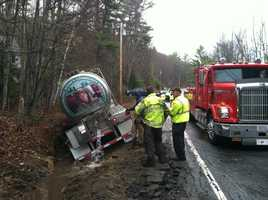 A Poland Spring tanker-truck, filled with waters involved in a crash on Wednesday.