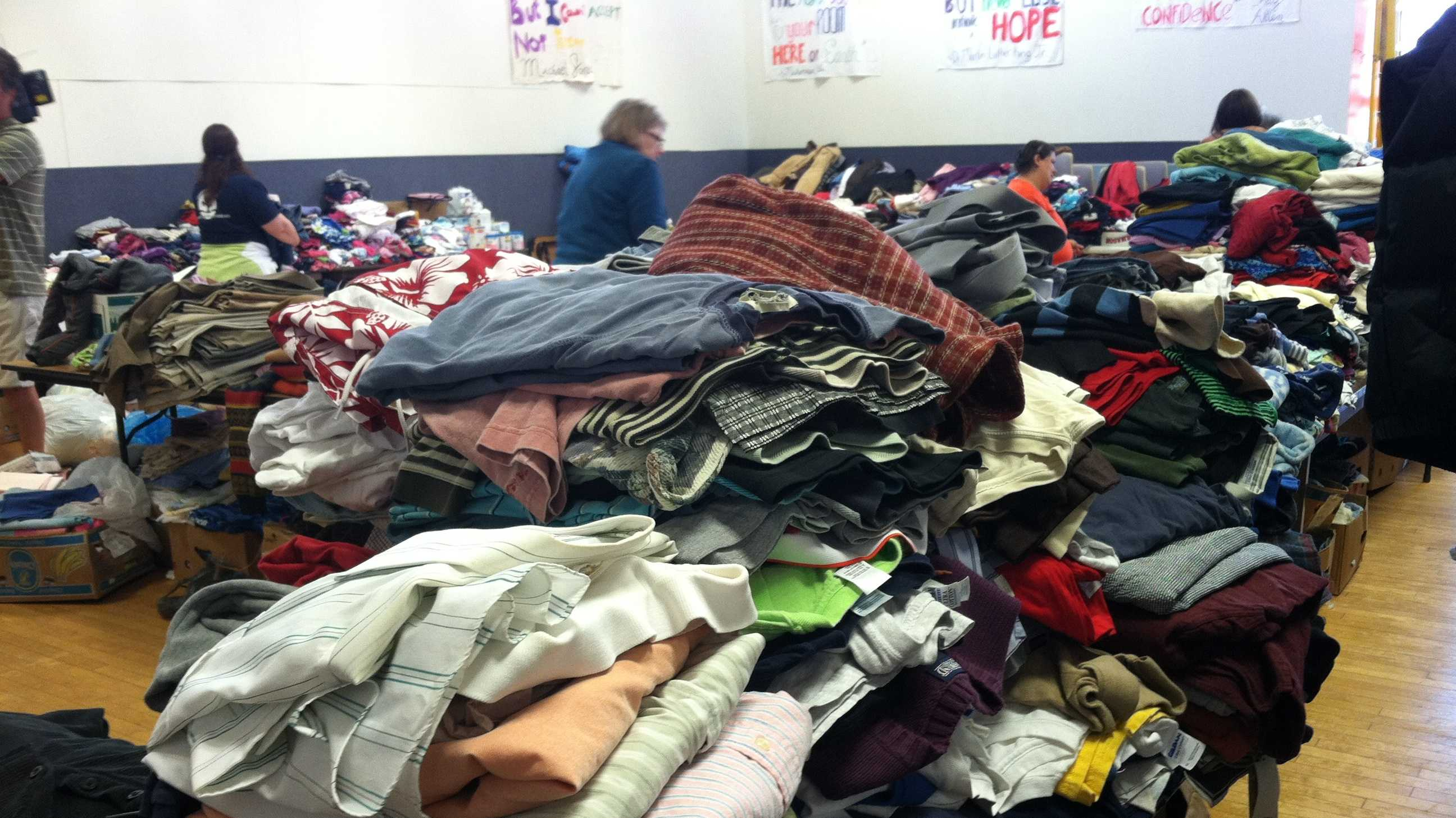 The YWCA says donations have poured in for Lewiston fire donations and they are looking for volunteers to help sort the items. They are also looking for donations of storage totes.