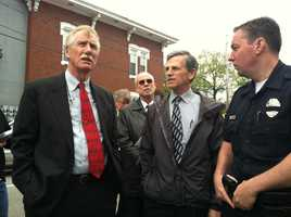 Sen. Angus King toured the damaged caused by three recent massive fires in Lewiston.