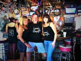 Bentley's Saloon owner Bentley Warren with some ride supporters.