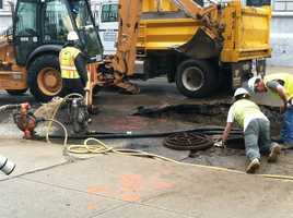 Crews were repairing a water main break on Pearl Street in Portland Monday morning.