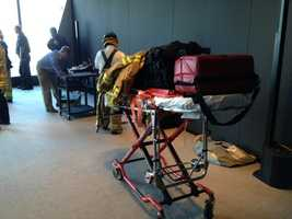 Stretchers were brought in for the two workers once they were rescued.