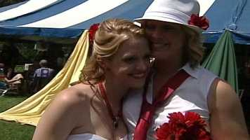 Several same-sex couples tied the knot in a mass ceremony in Portland on Saturday as part of the annual Southern Maine Pride weekend.