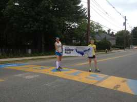 She ran from the start line in Hopkinton, Mass. to the finish line on Boylston Street in Boston.