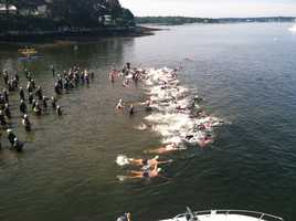 To qualify for the swim, participants had to show they can swim 1 mile in 45 minutes or less.